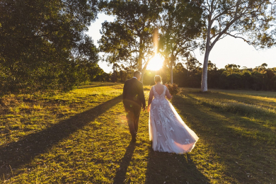 Amy & Alex walking off into the sunset!