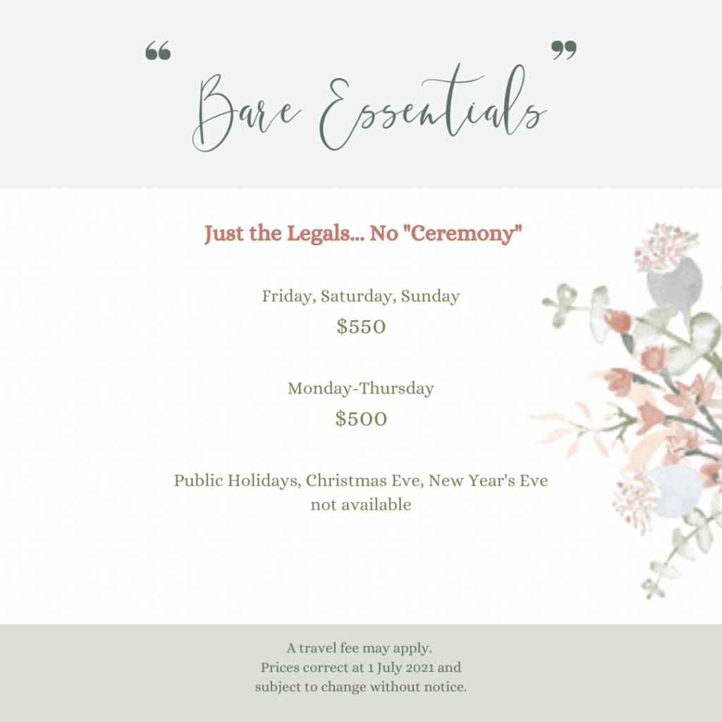Details of Celebrant's Legals-Only Package