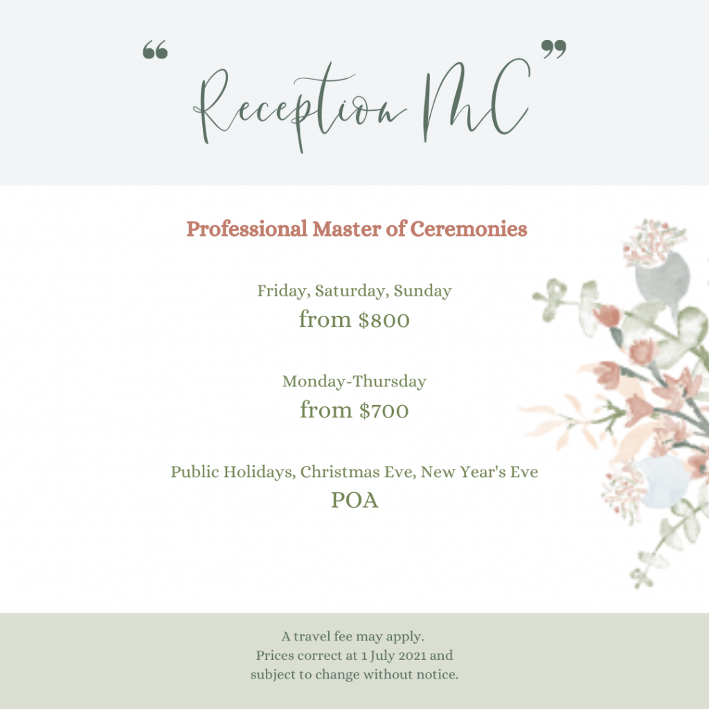 Details of Celebrant's Professional MC Package