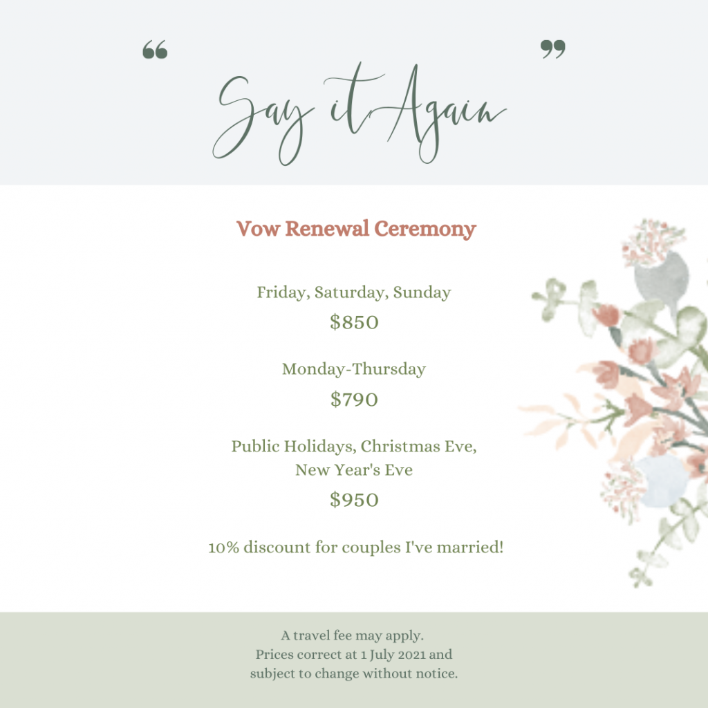 Details of Celebrant's Vow Renewal Package