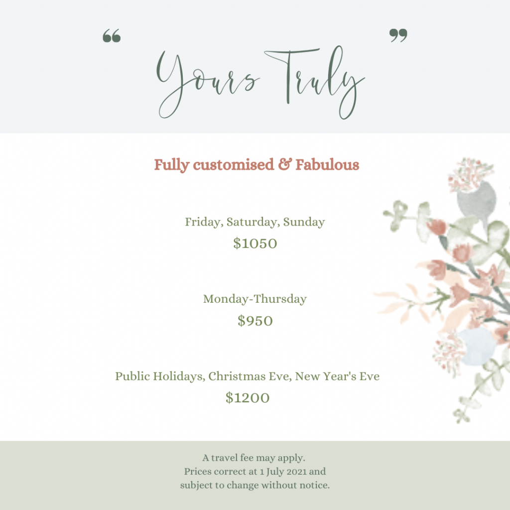 Details of Celebrant's Fully Customised Ceremony Package
